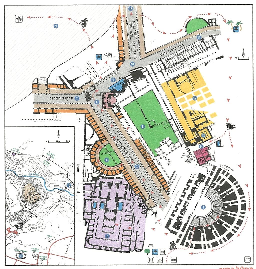 תוצאת תמונה עבור מפה הגן הלאומי בית שאן