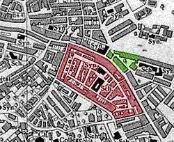 מאה שערים (באדום) וכולל שומרי החומות (בירוק) (מפה מנדטורית מ-1942)
