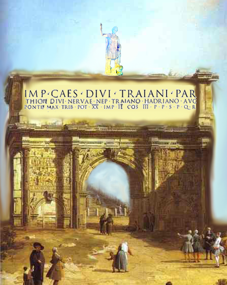 שחזור סכמטי של קשת הניצחון מתל שלם שהקדיש הסנט והעם הרומאי לקיסר אדריאנוס לכבוד ניצחונו ודיכוי מרד בר כוכבא יוצר: אור פ׳