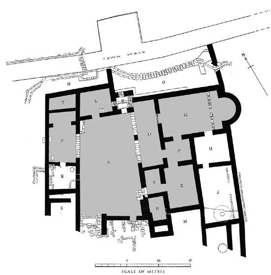 תכנית המנזר. בצבע אפור החדרים שבהם נמצאה רצפת פסיפס. מתוך פרסום החפירה של ג.מ.פיטצג'רלד - רשות העתיקות