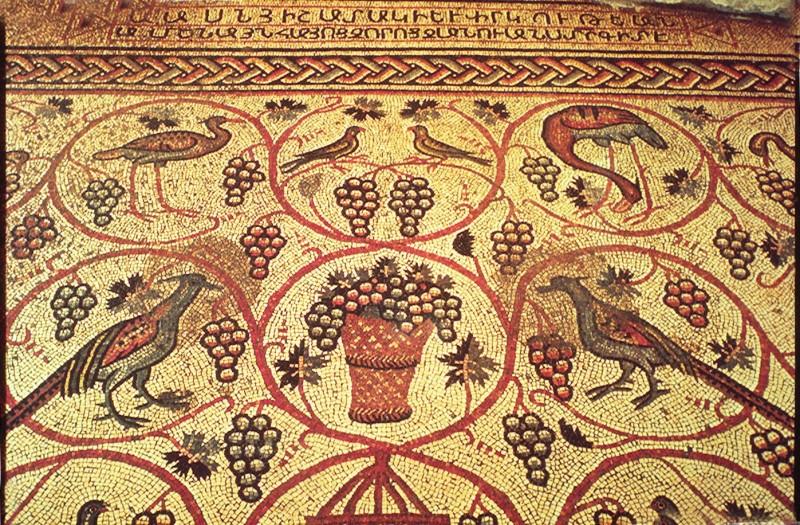 רחוב הנביאים 18 – רצפת פסיפס כנראה של כנסייה, עם כתובת בארמנית מהתקופה הביזנטית