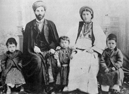 A Palestinian Christian family in Ramallah, Ottoman Palestine, 1905.