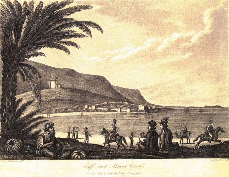 המצודה על רכס ההר מעל עיר מוקפת חומה. תחריט נחושת משנת 1801 של קופר וויליאמס. אוסף המוזיאון הימי הלאומי