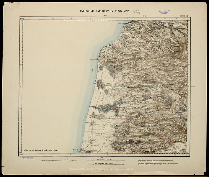 Map of Western Palestine in 26 sheets from the surveys conducted for the Committee of the en:Palestine Exploration Fund by Lietenanats C.R. Conder and H.H. Kitchener R.E. during the years 1872-1877.