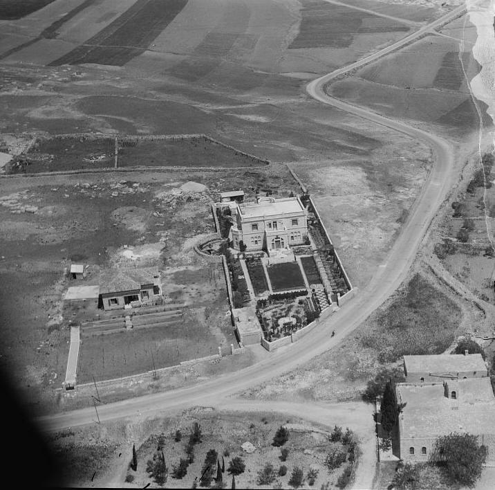 מלון שפרד - בית המופתי, צילום אוויר משנת 1933, עת התגוררו בו ג'ורג' וקטי אנטוניוס