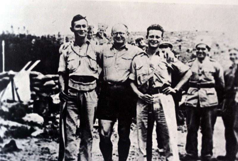 Moshe Dayan, Yitzhak Sadeh, and Yigal Allon. Kibbutz Hanita, 1938
