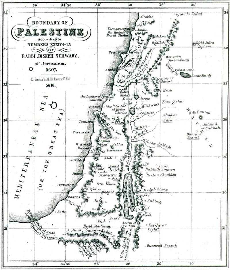 מפת ארץ ישראל מפה: הרב יוסף שוורץ