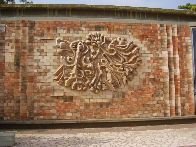 קיר מעוצב במוזיאון השפלה בכפר מנחם (עכשיו סגור) צילום: אבישי טייכר